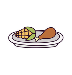 Happy thanksgiving day dinner roasted turkey leg vector