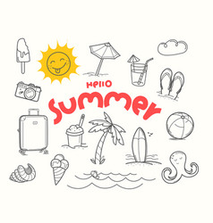 hello summer doodle elements with lettering vector image