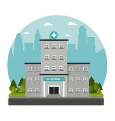 hospital building windows door facade cross tree vector image