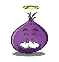 Innocent red onion character cartoon vector