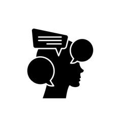 Internal dialogue black icon sign on vector