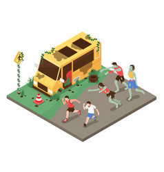 isometric zombie attack composition vector image