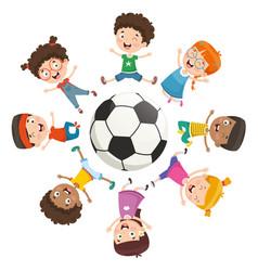 kids playing around a ball vector image