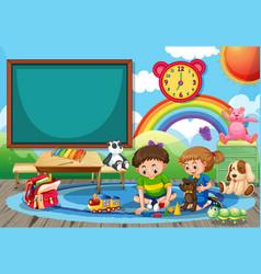 kindergarten school scene with two children vector image