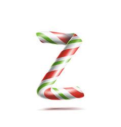 letter z 3d realistic candy cane alphabet vector image