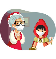 Little red riding hood wearing a mask visiting vector