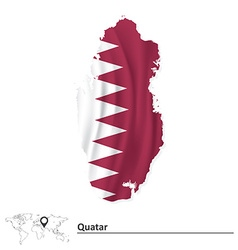 Map of Quatar with flag vector image vector image