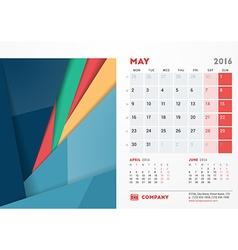May 2016 Desk Calendar for 2016 Year Stationery vector