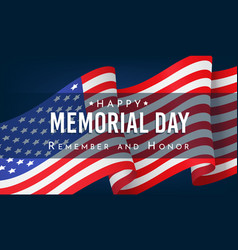 memorial day remember and honor banner vector image