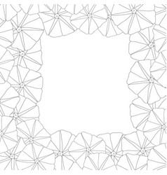 Morning glory flower outline border2 vector