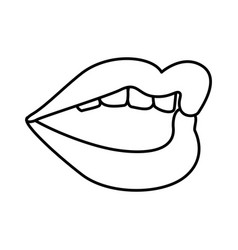 mouth pop art style vector image