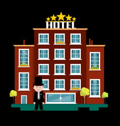 night hotel building vector image