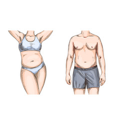 Overweight couple man and woman torso full color vector