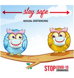 Owls cartoon keep distance coronovirus epidemic vector