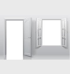 Part of white interior with open door and double vector