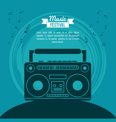 poster music festival in blue background with vector image