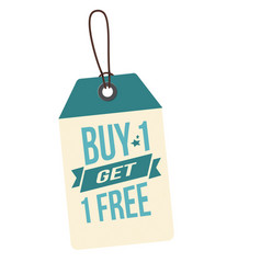 Price tag buy 1 get 1 free image vector