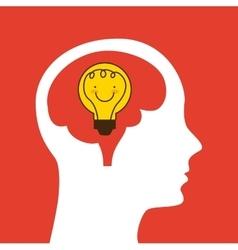 profile head with bulb icon vector image
