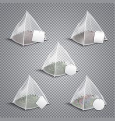 Pyramid tea bags realistic transparent vector