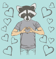 raccoon valentine day concept vector image