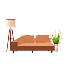 realistic orange sofa with floor lamp and vector image
