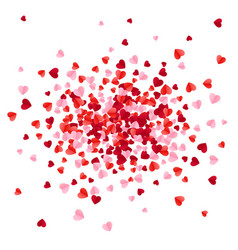 Red pink and rose scatter paper hearts confetti vector
