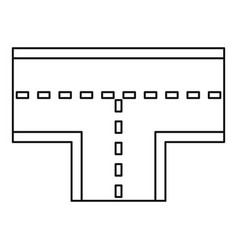Road intersection icon outline style vector