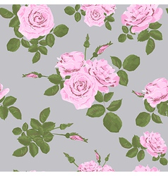 Rose seamless pattern on grey background vector image
