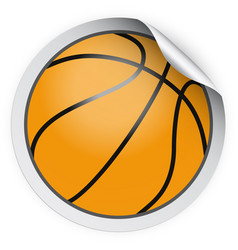 round sticker with basketball ball vector image