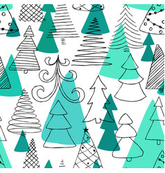 seamless pattern hand drawn sketch christmas vector image