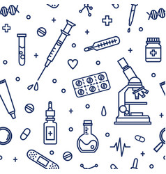 Seamless pattern with medical lab equipment vector