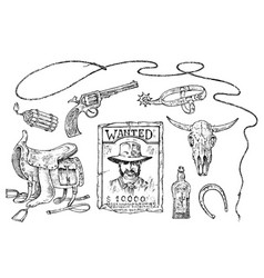 set of cowboys western icons texas rangers wild vector image