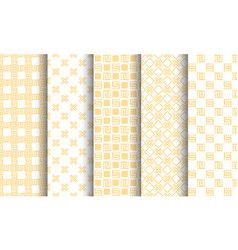 Set of different seamless patterns white and vector