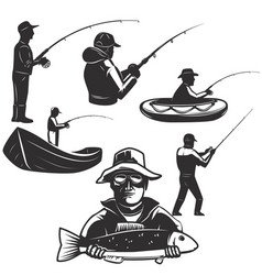 Set of fishermans silhouettes fishing icons vector