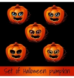 Set of five pumpkins for Halloween vector image