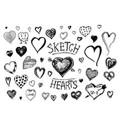 set of hearts doodle valentine love symbol vector image