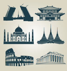 Silhouettes world tourist attractions vector