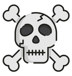 skull linecolor vector image