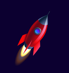 space flat background with rocket vector image