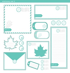 stationery set 2 green leaf vector image