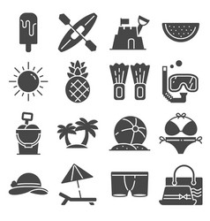 summer icons gray set on white background vector image