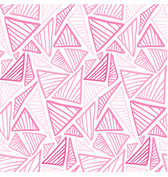 Tender pink seamless pattern with doodle triangles vector