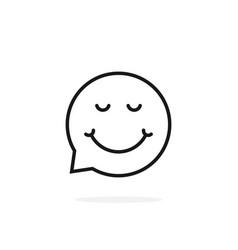 thin line enjoy emoji speech bubble logo vector image