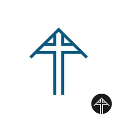 tomb cross with triangle rocover symbol vector image