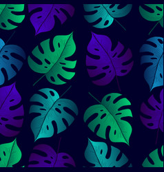 tropical leaf monstera seamless pattern black vector image