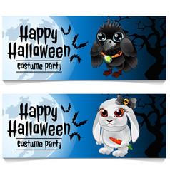 two horizontal cards on theme halloween vector image