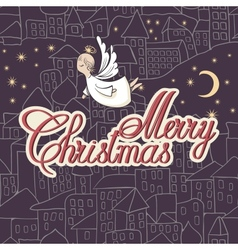 Vintage Card Merry Christmas lettering vector image