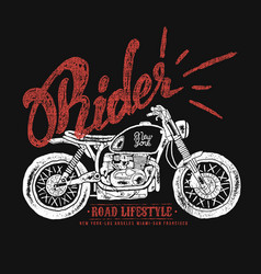 vintage motorcycle hand drawn vector image