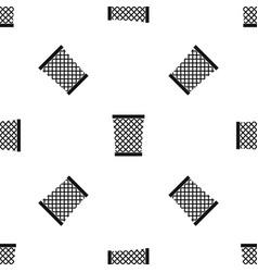 Wastepaper basket pattern seamless black vector