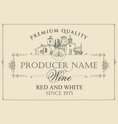 Wine label with contour drawing of village vector